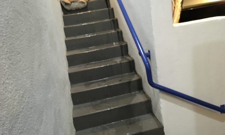 Water coming down the stairs
